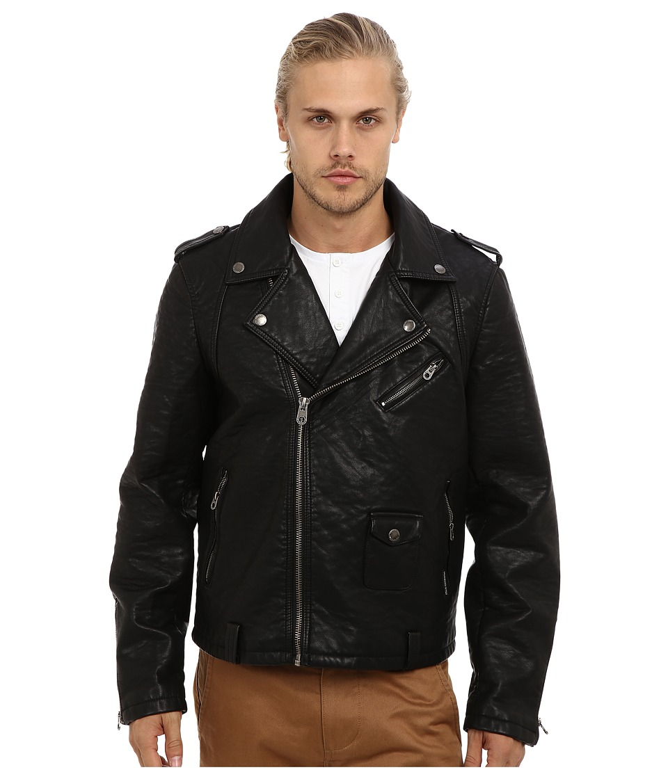 Members Only - Heavy PU Motorcycle Jacket (Black) Men