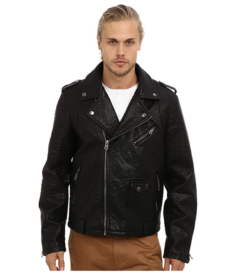Members Only - Heavy PU Motorcycle Jacket (Black) Men's Coat