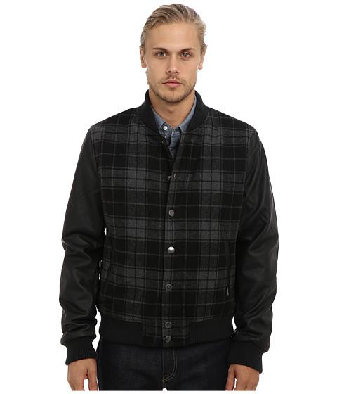 Members Only - Plaid Wool Varsity Jacket w/ PU Sleeves (Charcoal) Men