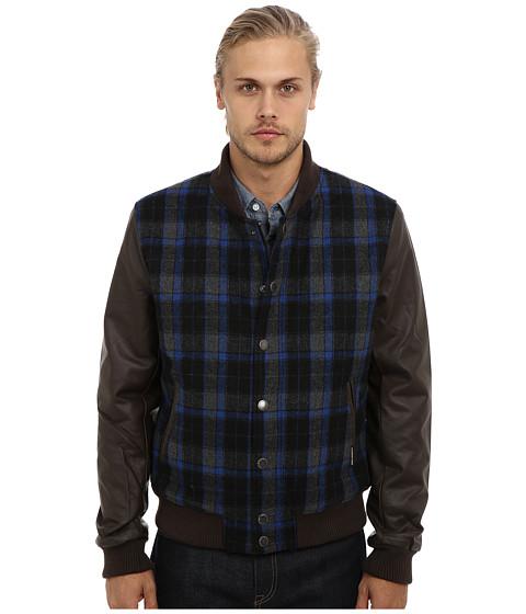 Members Only - Plaid Wool Varsity Jacket w/ PU Sleeves (Cobalt/Cobalt/Academy) Men