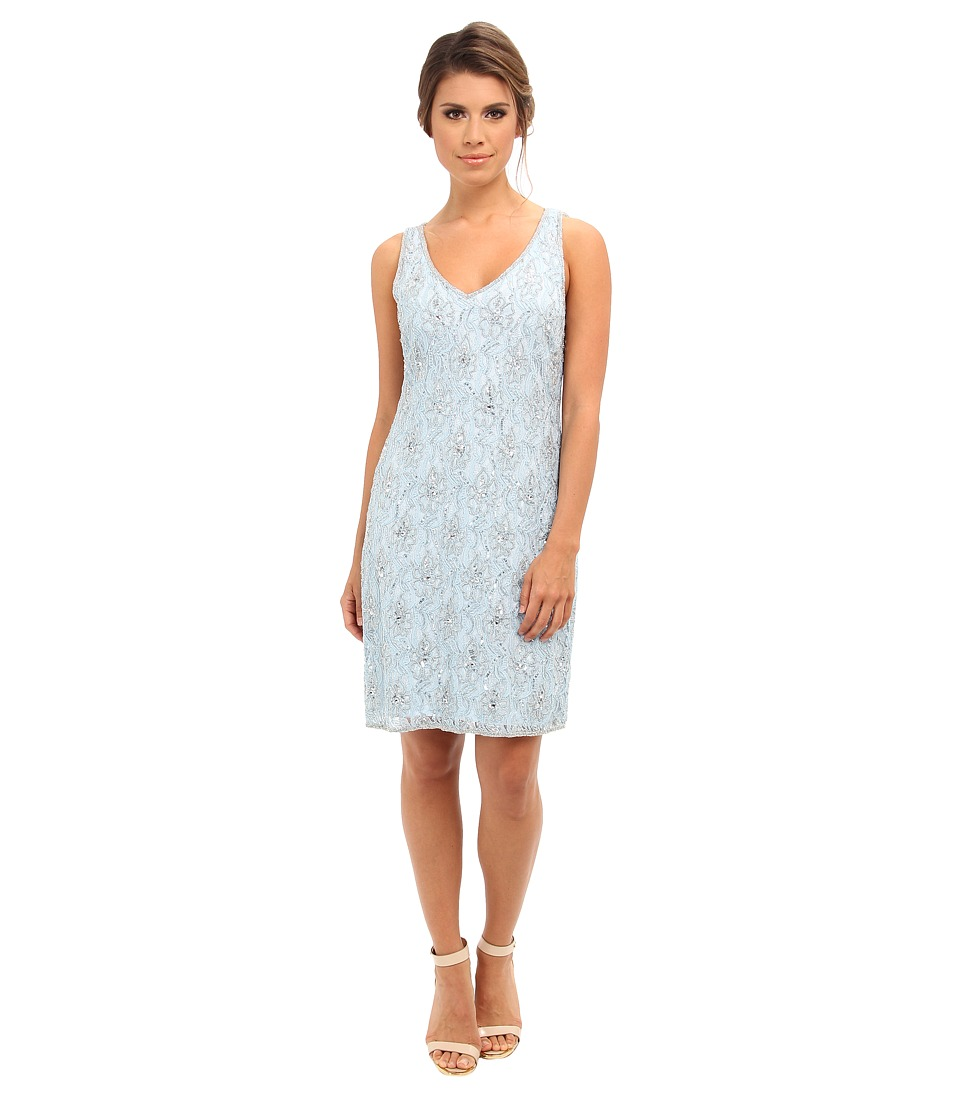 Adrianna Papell - Beaded Short Dress (Sky Blue) Women