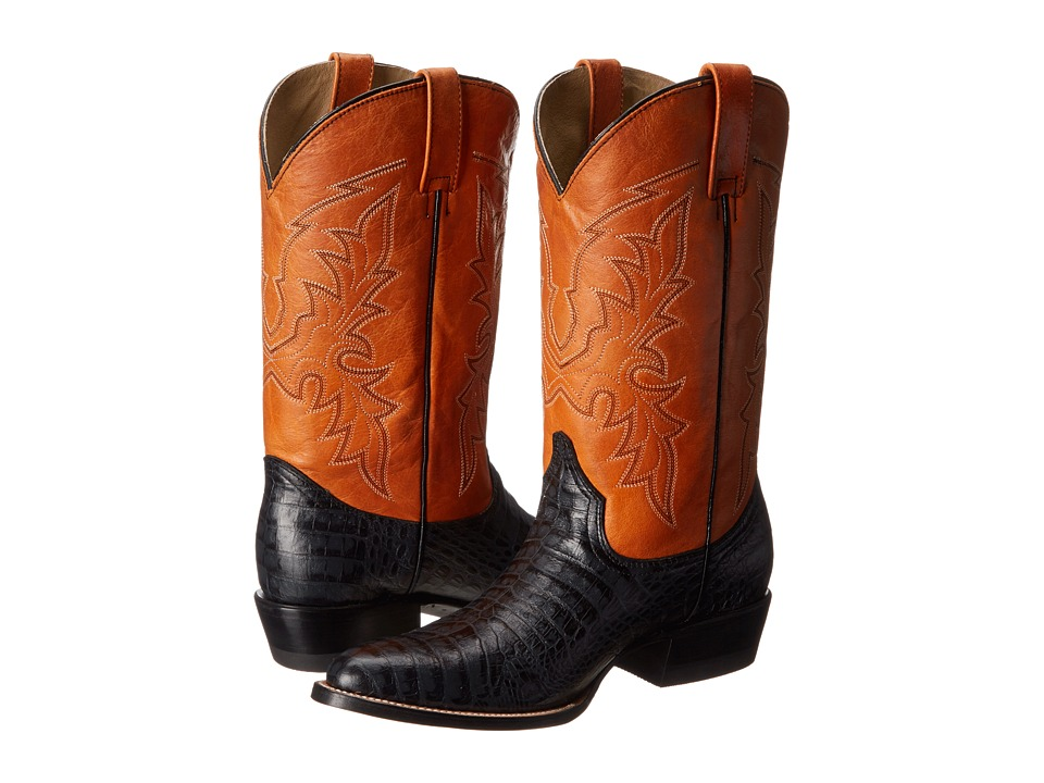 Roper - Printed Caiman Round Toe Boot (Black) Cowboy Boots