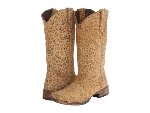 Roper - Leopard Print Square Toe Boot (Light Beige) Cowboy Boots
