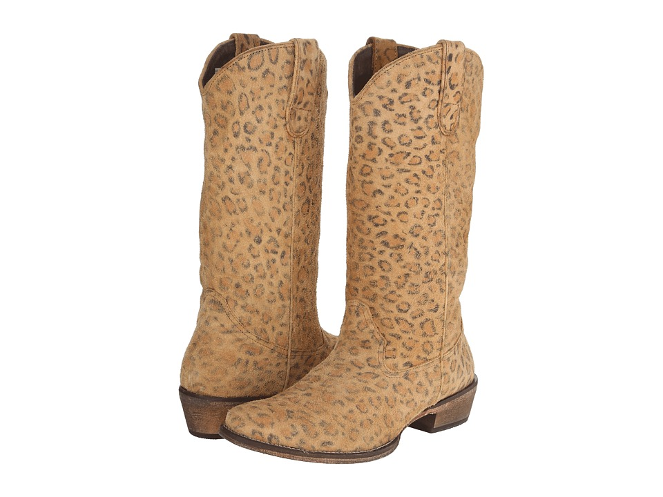 Roper Leopard Print Snip Toe Boot (Light Beige) Cowboy Boots