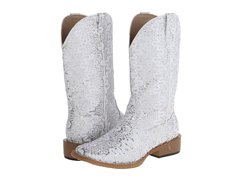 Roper - Lace Glitter Square Toe Boot (White) Cowboy Boots