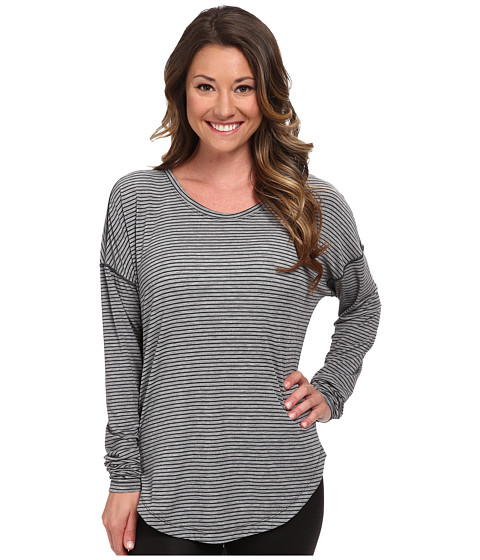 Lucy - Final Rep Long Sleeve Top (Fossil/Asphalt Heather Stripe) Women's Long Sleeve Pullover