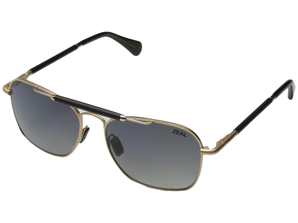 Zeal Optics - Draper (Matte Gold w / Gradient Polarized Dark Grey Lens) Fashion Sunglasses