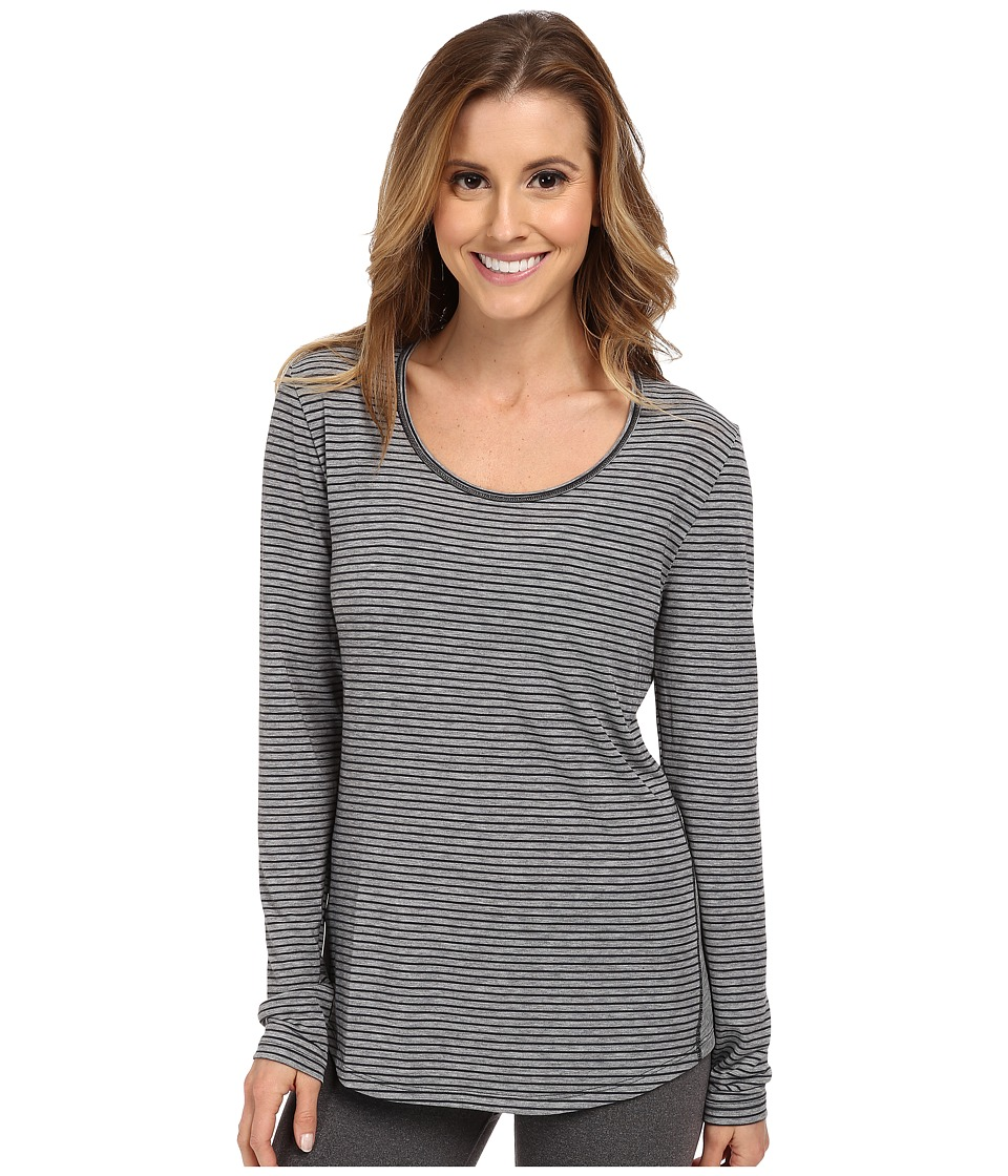 Lucy - L/S Workout Tee (Fossil/Asphalt Heather Stripe) Women's Workout
