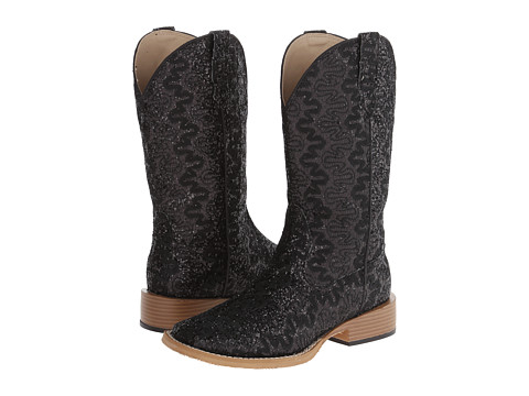 Roper - Lace Glitter Square Toe Boot (Black) Cowboy Boots