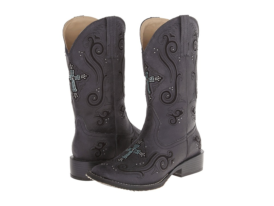 Roper - Crystal Cross Square Toe Boot (Black) Cowboy Boots