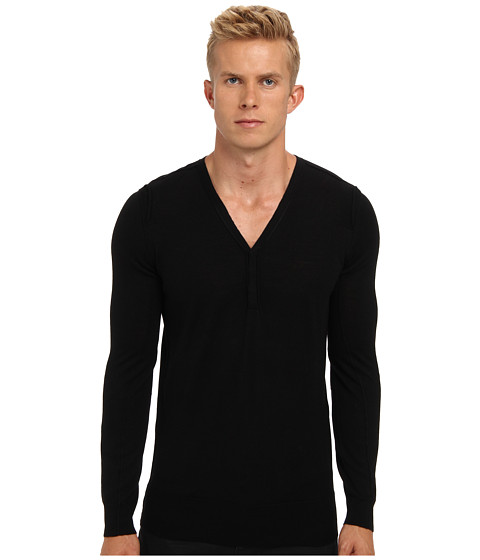 HELMUT LANG - Fine Gauge Merino Henley Sweater (Black) Men's Sweater