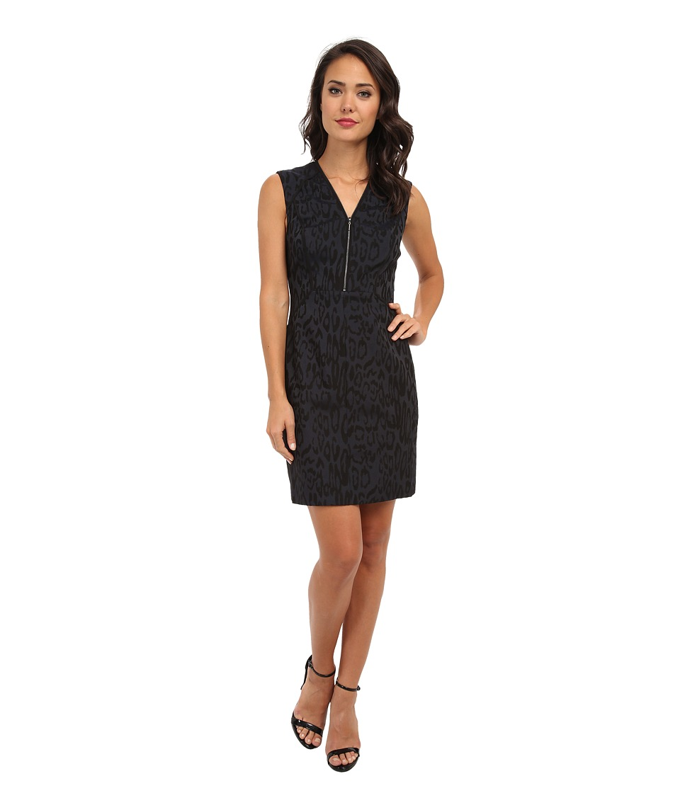 Rebecca Taylor - Sleeveless Leo Brocade Shift (Black/Ink Blue) Women
