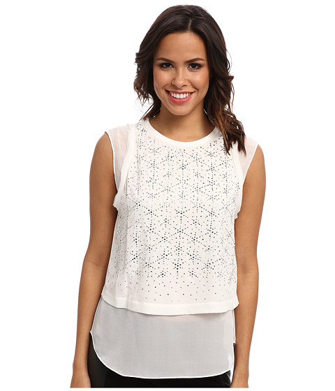 Rebecca Taylor - Sleeveless Geo Shimmer Top (Chalk) Women's Sleeveless