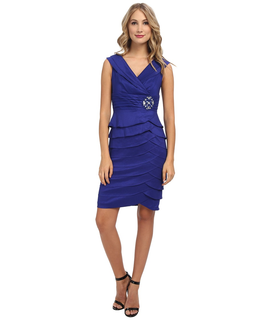 Jessica Howard - Sleeveless Pleated Surplus Collar Tucked Waist Dress with Beaded Patch Artichoke Skirt (Royal Blue) Women