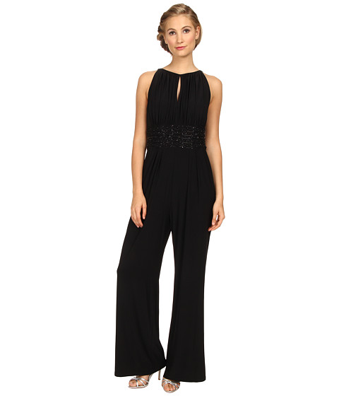 Jessica Howard - Sleeveless Shirred Keyhole Neck Beaded Inset Waist Jumpsuit (Black) Women's Jumpsuit & Rompers One Piece