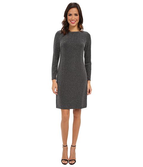 Jessica Howard - Long Sleeve Shift Dress (Black/Sliver) Women
