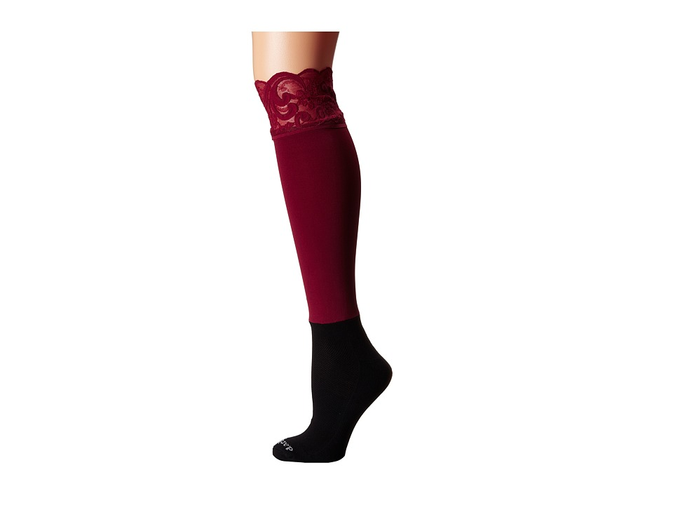 BOOTIGHTS - Lacie Lace Darby Knee High/Ankle Sock (Crimson) Knee high Hose