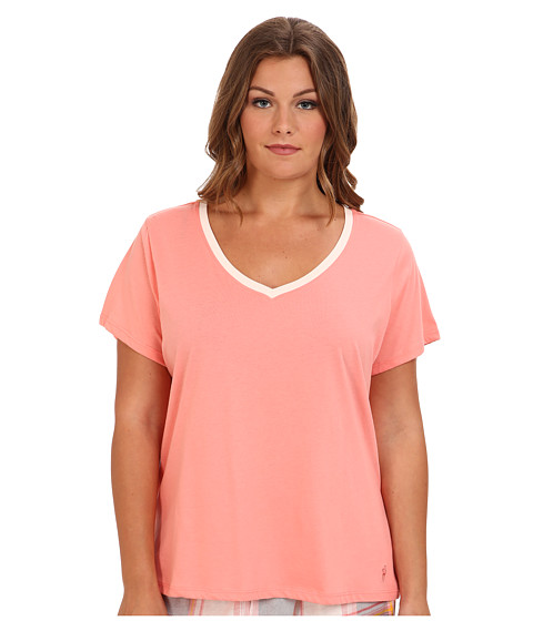 Jockey - Plus Size Blooming Cosmos S/S V-Neck Top (Sienna) Women