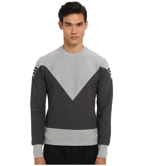 adidas Y-3 by Yohji Yamamoto - Hero Crew (Charcoal Melange) Men's Long Sleeve Pullover