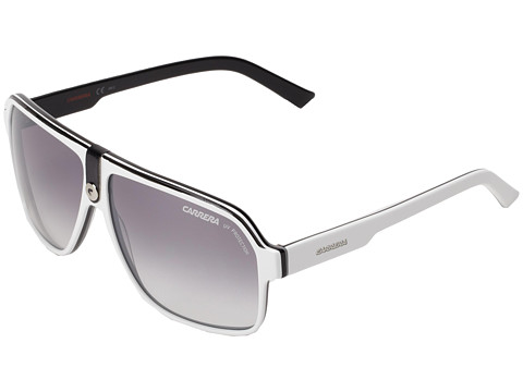 Carrera - Carrera 33/S (White Black Gray/Gray Mirror/Gradient Silver) Fashion Sunglasses