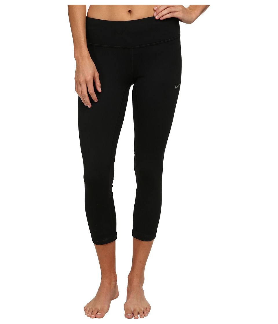 Nike - Dri-FITtm Epic Run Crop (Black/Black/Reflective Silver) Women's Workout