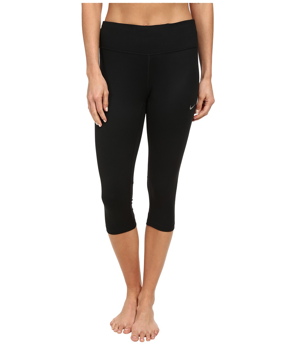 Nike - Dri-Fit Epic Run Capri (Black/Black/Reflective Silver) Women's Capri