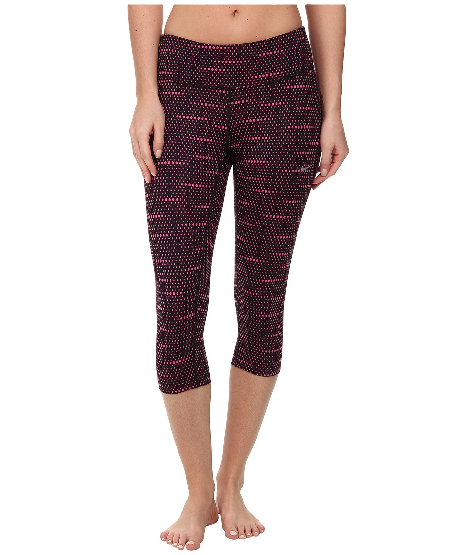 Nike - Printed Dri-FIT Run Capri (Black/Hot Pink/Reflective Silver) Women's Capri