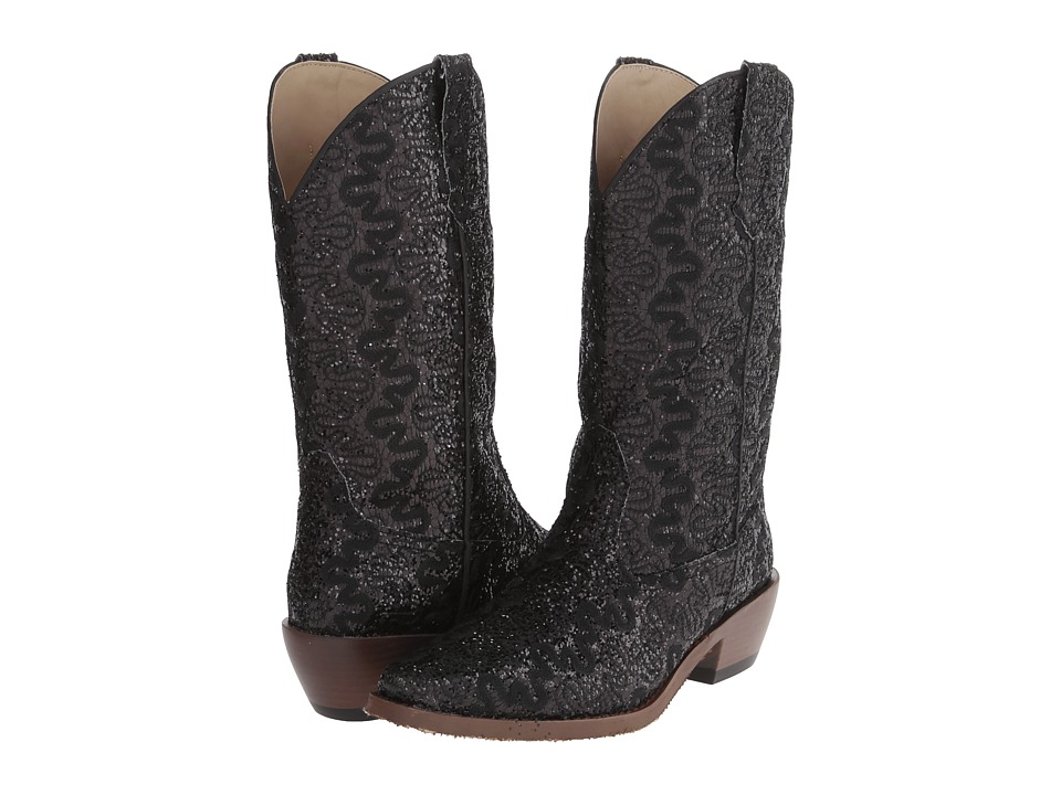 Roper - Lace Glitter Snip Toe Boot (Black) Cowboy Boots