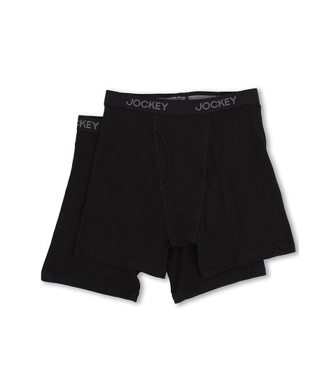 Jockey - Cotton Stretch Midway Brief 2-Pack (Black) Men