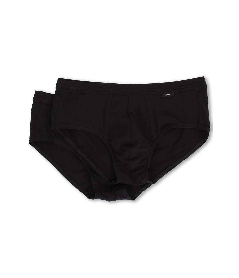 Jockey - Cotton Stretch Low-Rise Brief 2-Pack (Black) Men's Underwear
