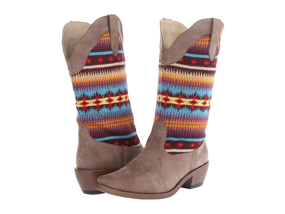 Roper Southwest Sweater Shaft Boot (Brown) Cowboy Boots