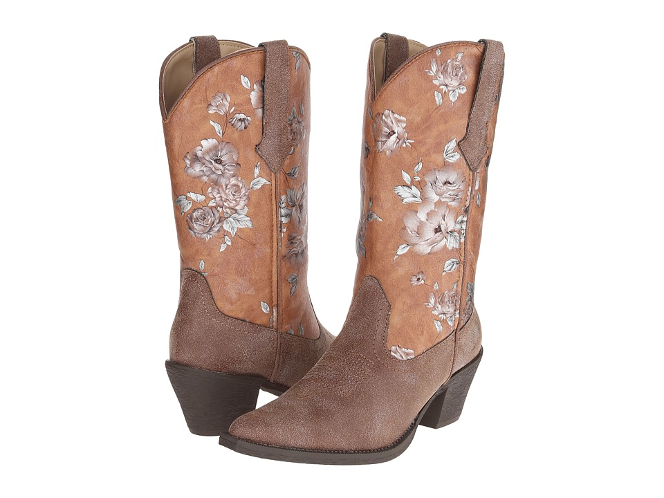 Roper - Metallic Flower Print Boot (Brown) Cowboy Boots