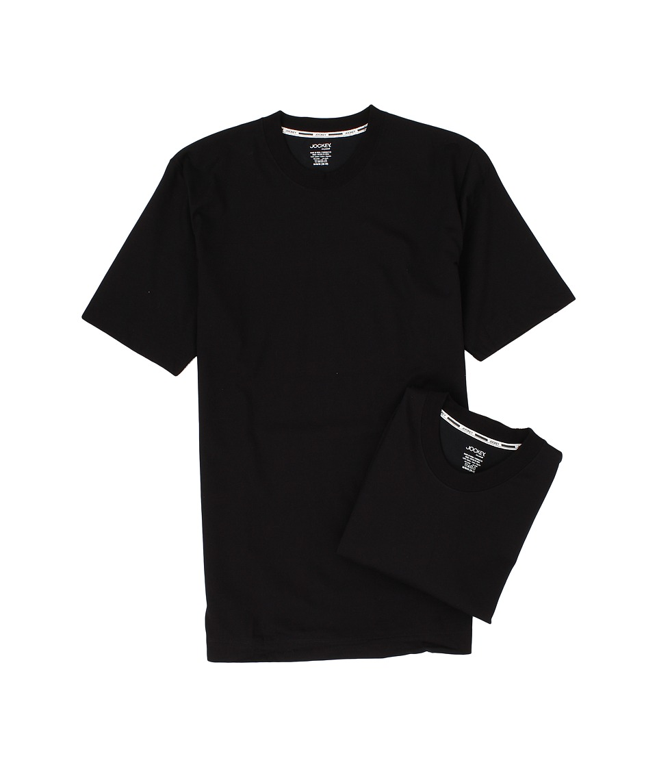 Jockey - Staycool Crew Neck T-Shirt 2-Pack (Black) Men's Underwear