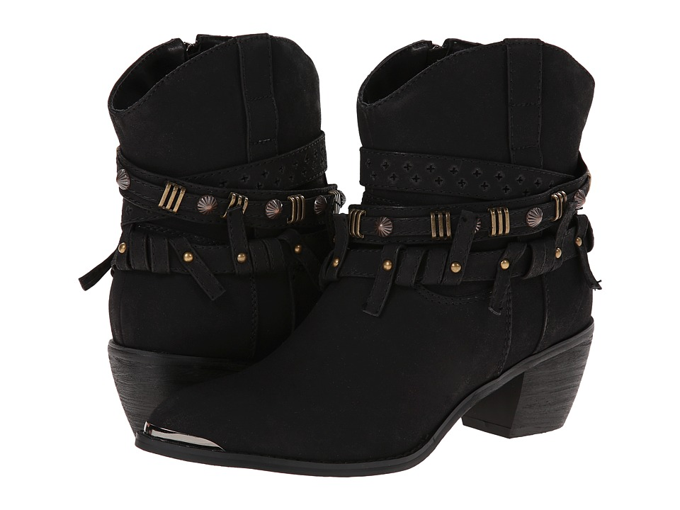 Roper - Studded Strap Ankle Boot (Black) Cowboy Boots
