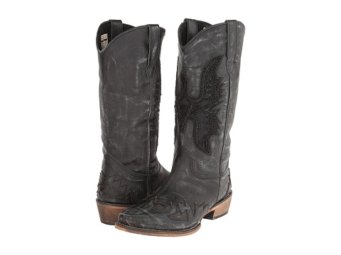 Roper - Hand Beaded Eagle Boot (Black) Cowboy Boots