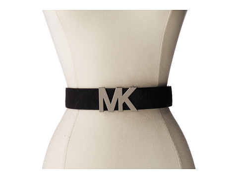 MICHAEL Michael Kors - 38mm Solid Haircalf on MK Plaque (Black) Women's Belts