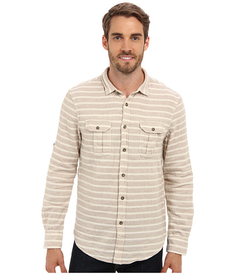 J.A.C.H.S. - Double Faced Horizontal Stripe Shirt (Brown) Men's Clothing