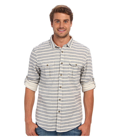 J.A.C.H.S. - Double Faced Horizontal Stripe Shirt (Blue) Men's Clothing