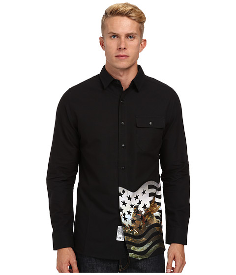 Crooks & Castles - Takeover Woven L/S Shirt (Black Multi) Men's Long Sleeve Pullover