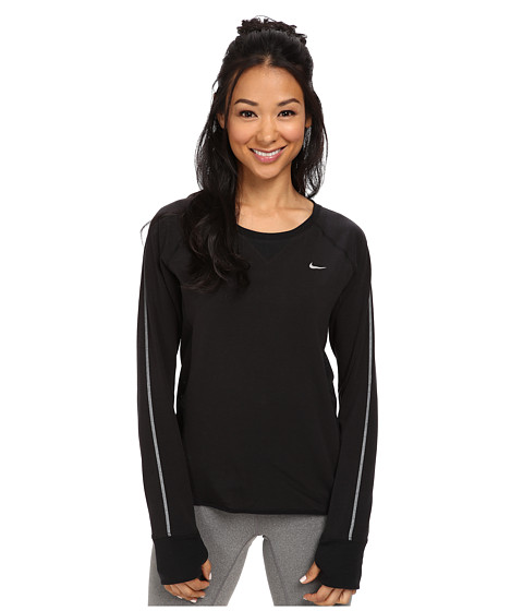 Nike - Sprint Fleece Crew (Black/Black/Reflective Silver) Women's Long Sleeve Pullover