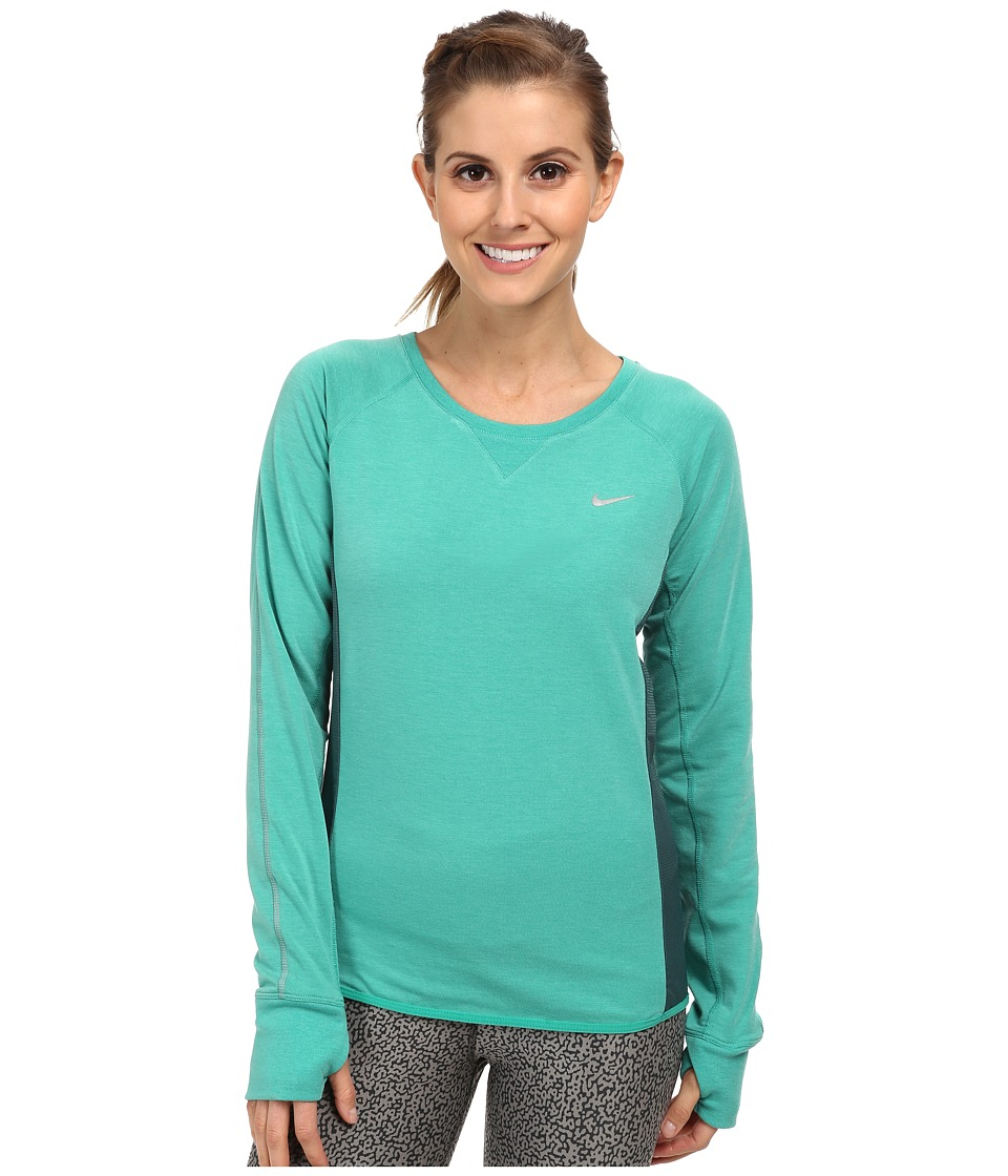 Nike - Sprint Fleece Crew (Emerald Green/Dark Emerald/Reflective Silver) Women
