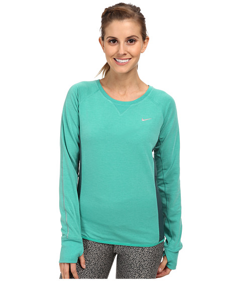 Nike - Sprint Fleece Crew (Emerald Green/Dark Emerald/Reflective Silver) Women's Long Sleeve Pullover