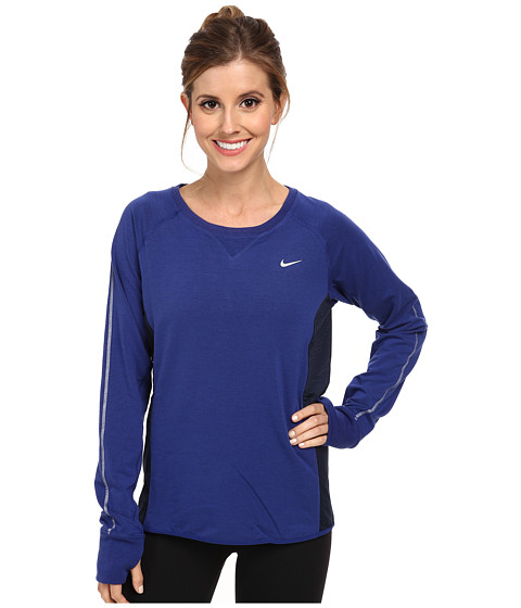 Nike - Sprint Fleece Crew (Deep Royal Blue/Obsidian/Reflective Silver) Women's Long Sleeve Pullover