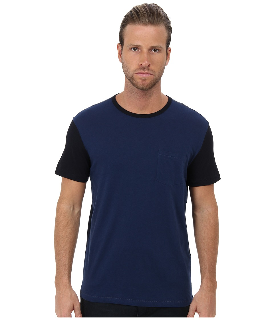 John Varvatos Star U.S.A. - Color Block Crew Tee AVR1B (Cobalt/Cobalt/Academy) Men's Short Sleeve Knit