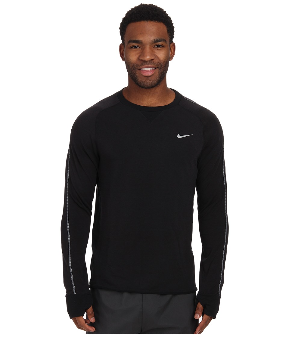 Nike - Dri-FIT Sprint Crew (Black/Black/Black/Reflective Silver) Men's Long Sleeve Pullover