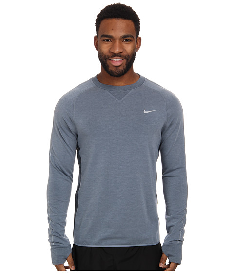Nike - Dri-FIT Sprint Crew (Blue Graphite/Blue Graphite/Reflective Silver) Men's Long Sleeve Pullover