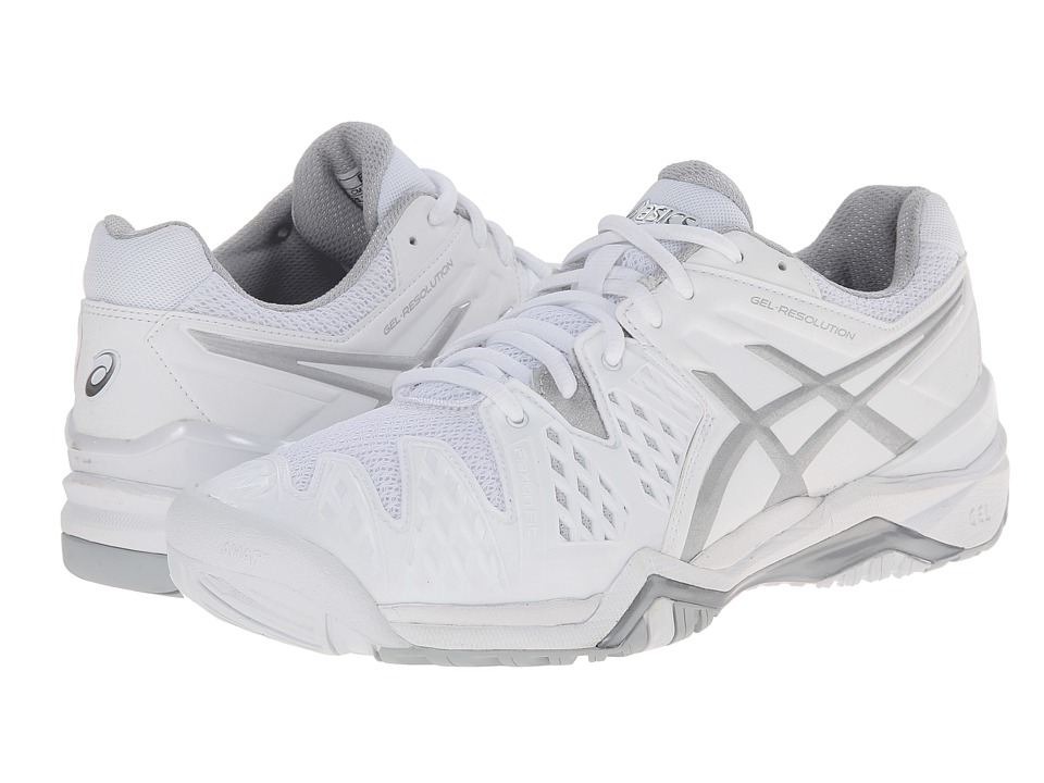 ASICS - GEL-Resolution 6 (White/Silver) Women's Tennis Shoes