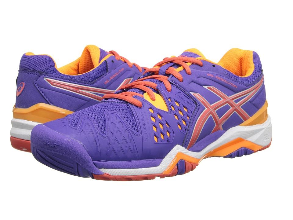 ASICS - GEL-Resolution 6 (Lavender/Hot Coral/Nectarine) Women's Tennis Shoes