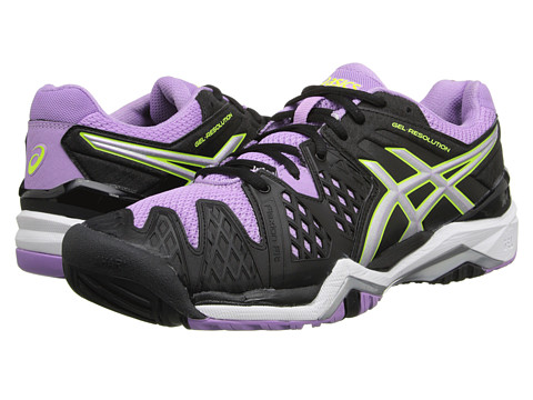 ASICS - GEL-Resolution 6 (Black/Silver/Orchid) Women's Tennis Shoes