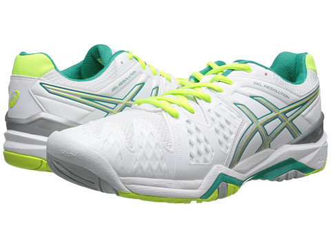 ASICS - GEL-Resolution 6 (White/Emerald Green/Silver) Women
